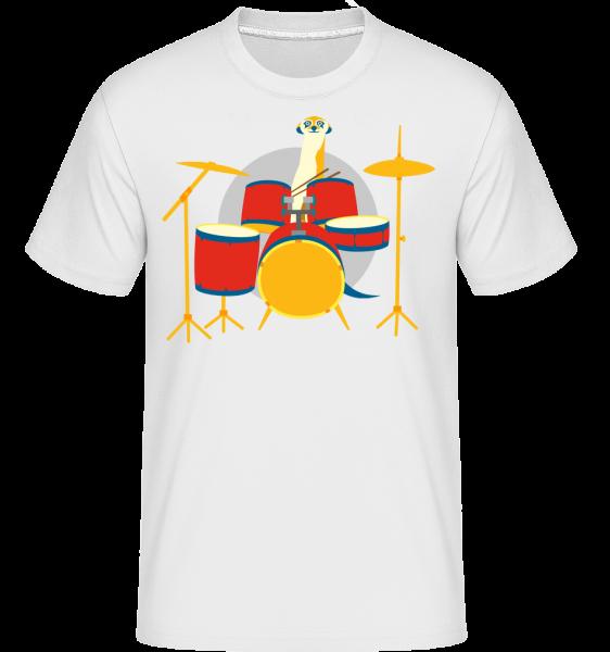 Erdmännchen am Schlagzeug - Shirtinator Männer T-Shirt - Weiß - Vorn