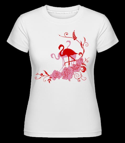 Flamingos Flowers -  Shirtinator Women's T-Shirt - White - Vorn