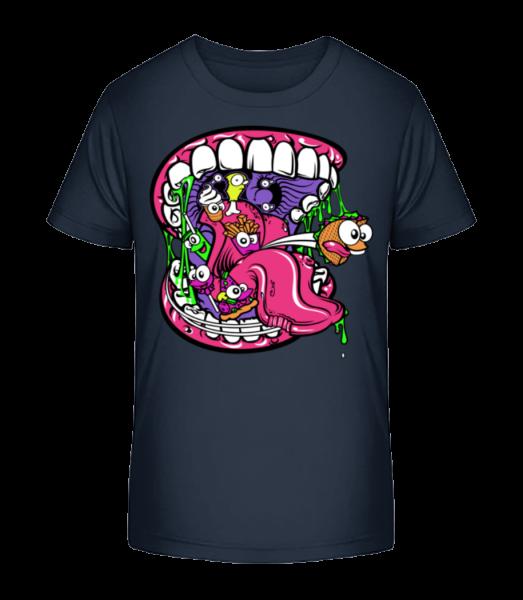 Fast Food Mund - Kinder Premium Bio T-Shirt - Marine - Vorn