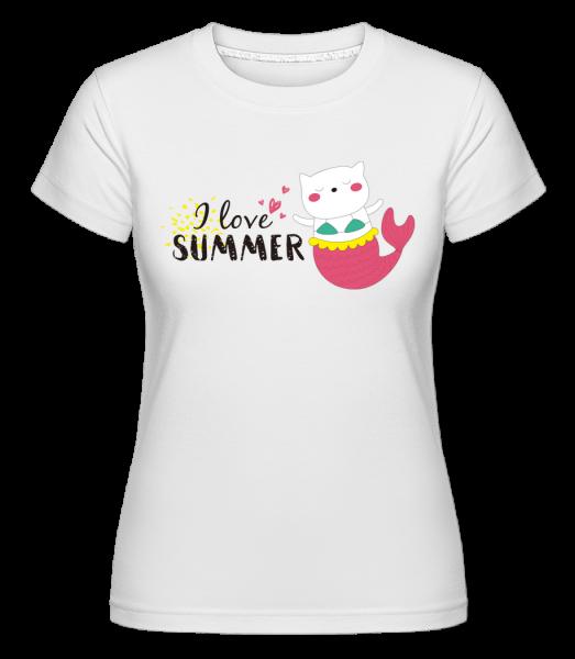 I Love Summer Cat Fish - Shirtinator Frauen T-Shirt - Weiß - Vorn
