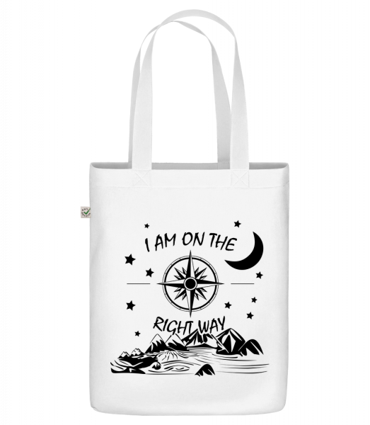 """I Am On The Right Way - Organic """"Earth Positive"""" tote bag - White - Front"""