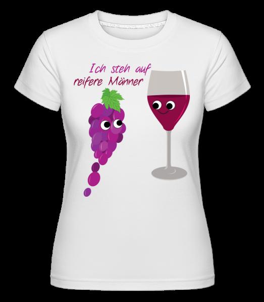 Wein Liebe Reifere Männer - Shirtinator Frauen T-Shirt - Weiß - Vorn