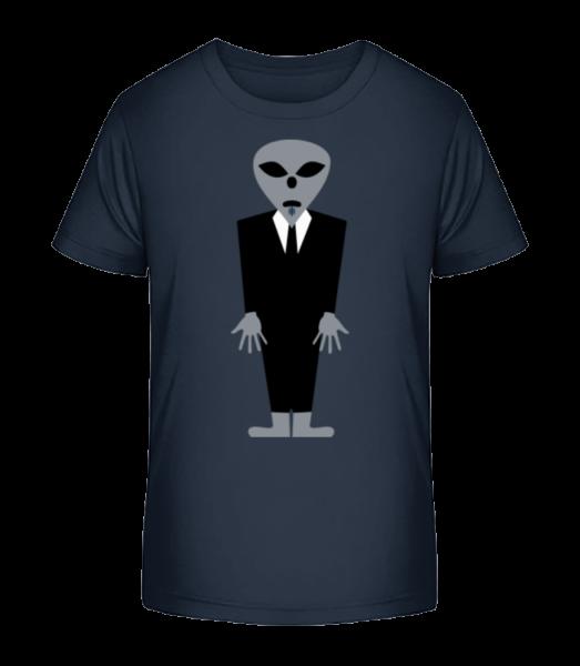 Alien With Suit - Kid's Premium Bio T-Shirt - Navy - Front