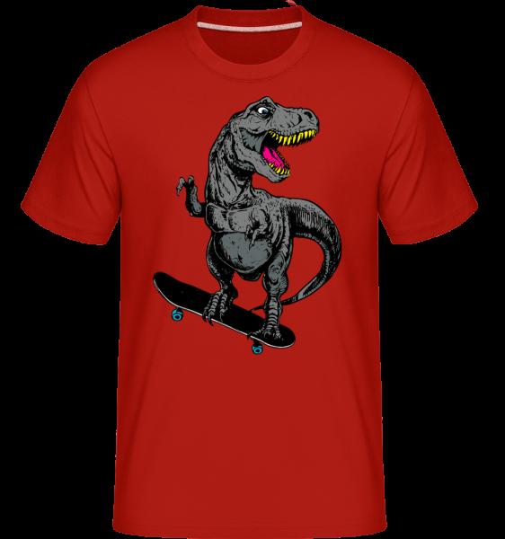 T-Rex Skater - Shirtinator Männer T-Shirt - Rot - Vorn