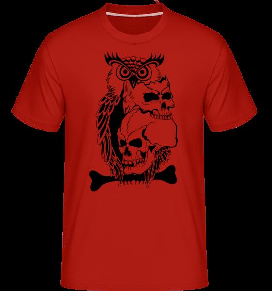 Eulen Totenköpfe Tattoo - Shirtinator Männer T-Shirt - Rot - Vorn