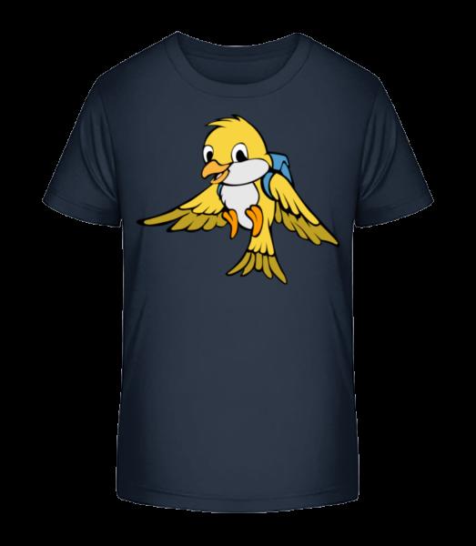 Süßer Vogel Mit Rucksack - Kinder Premium Bio T-Shirt - Marine - Vorn