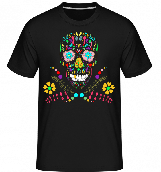 Bunter Totenkopf - Shirtinator Männer T-Shirt - Schwarz - Vorn