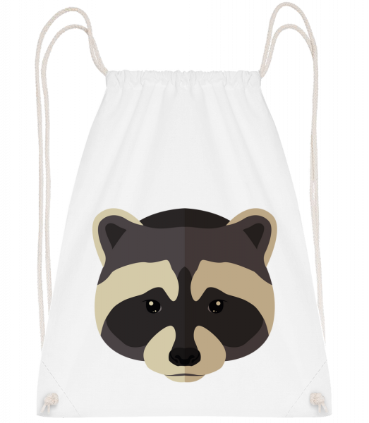 Racoon Comic Shadow - Drawstring Backpack - White - Vorn
