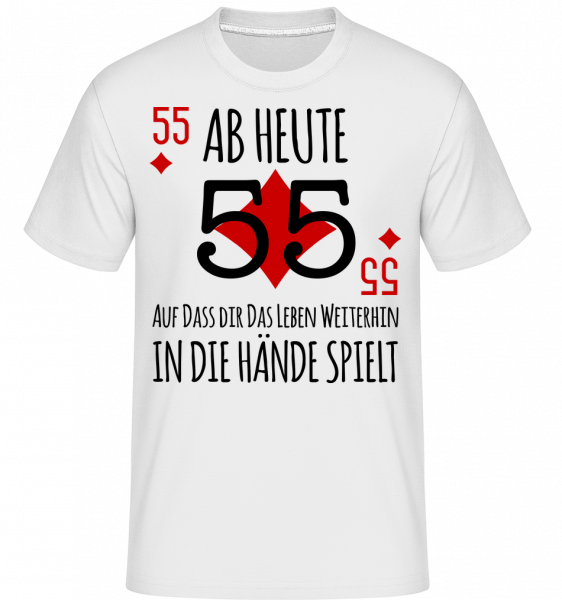 Schnapszahl 55 - Shirtinator Männer T-Shirt - Weiß - Vorn