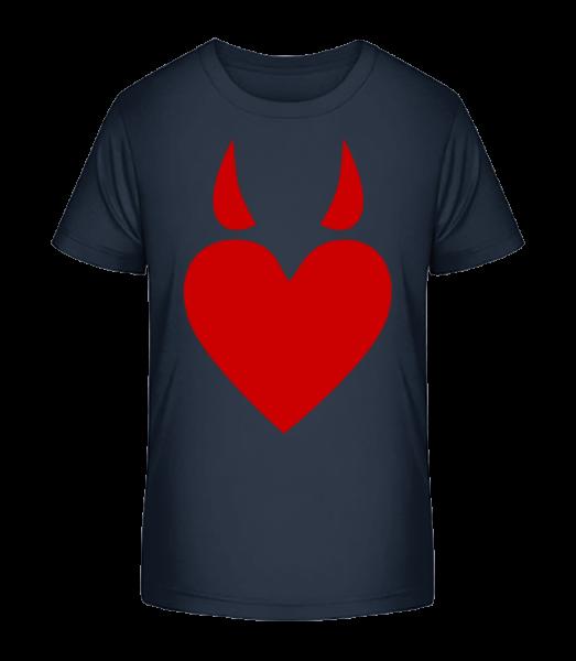 Teufelsherz - Kinder Premium Bio T-Shirt - Marine - Vorn