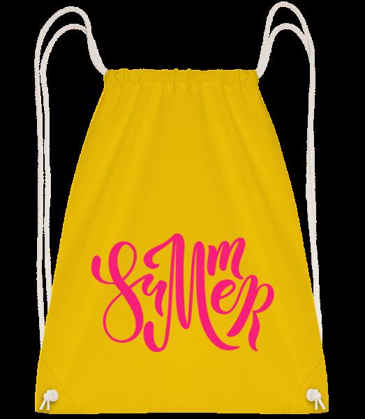 Pink Summer Sign - Drawstring Backpack - Yellow - Vorn