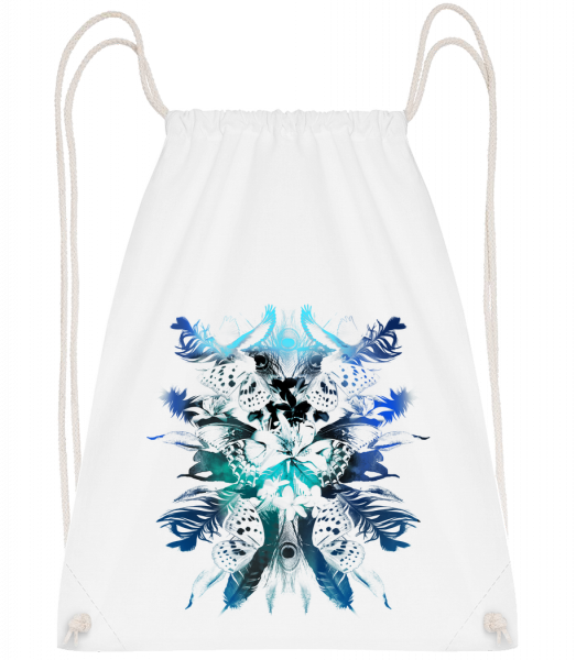 Feathers And Butterflies - Drawstring Backpack - White - Vorn