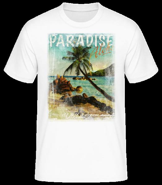 Paradise Aloha - Men's Basic T-Shirt - White - Front