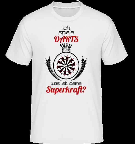 Darts Superkraft - Shirtinator Männer T-Shirt - Weiß - Vorn