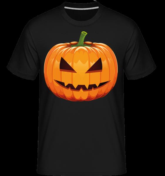 Grinsender Kürbis - Shirtinator Männer T-Shirt - Schwarz - Vorn
