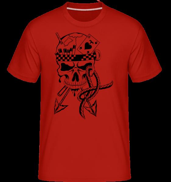 Totenkopf Krieger Tattoo - Shirtinator Männer T-Shirt - Rot - Vorn