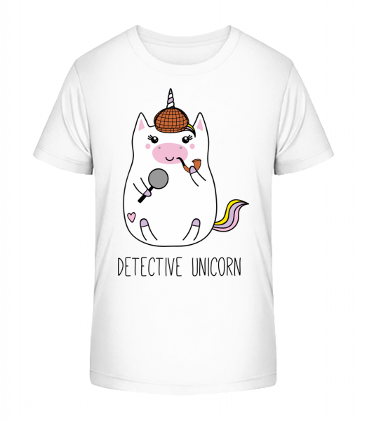 Detective Unicorn - Kid's Premium Bio T-Shirt - White - Front