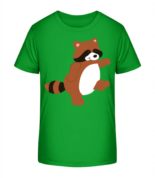 Kids Comic - Racoon - Kid's Premium Bio T-Shirt - Green - Front