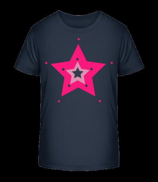 Pink Star - Kinder Premium Bio T-Shirt - Marine - Vorn