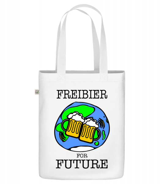 """Freibier For Future - Organic """"Earth Positive"""" tote bag - White - Front"""