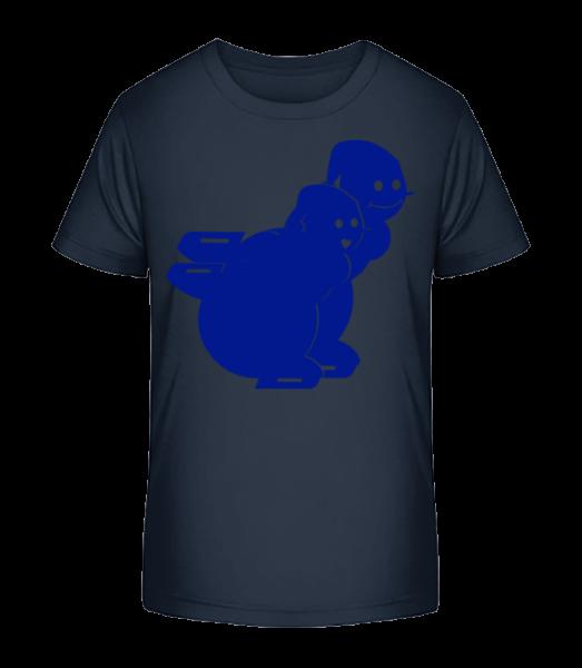 Ice Skating Snowmen Blue - Kid's Premium Bio T-Shirt - Navy - Front