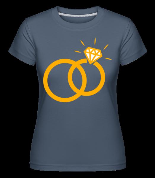 Diamond Wedding Rings -  Shirtinator Women's T-Shirt - Denim - Front