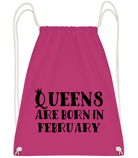 Queens Are Born In February - Drawstring Backpack - Magenta - Vorn