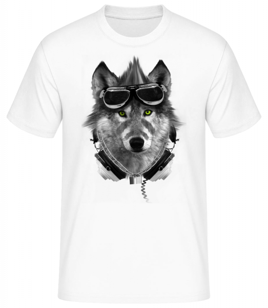 Biker Wolf - Men's Basic T-Shirt - White - Front