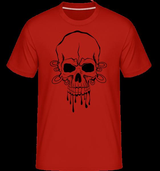 Totenschädel Mit Ringen Tattoo - Shirtinator Männer T-Shirt - Rot - Vorn