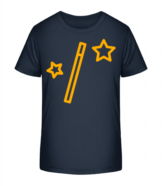 Zauberstab Sterne Und Sterne - Kinder Premium Bio T-Shirt - Marine - Vorn