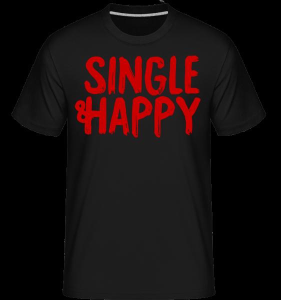 Single & Happy - Shirtinator Männer T-Shirt - Schwarz - Vorn