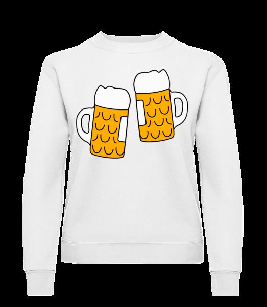 Zwei Bier - Frauen Pullover - Weiß - Vorn
