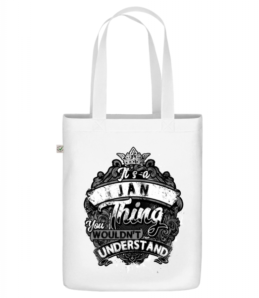 """It's A Jan Thing - Organic """"Earth Positive"""" tote bag - White - Front"""