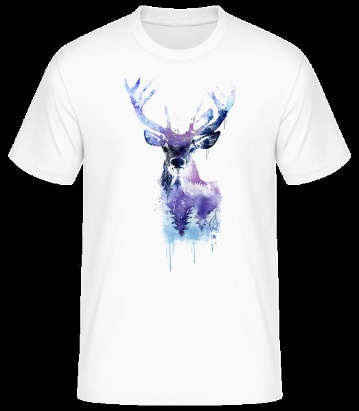 Artistic Deer - Men's Basic T-Shirt - White - Front