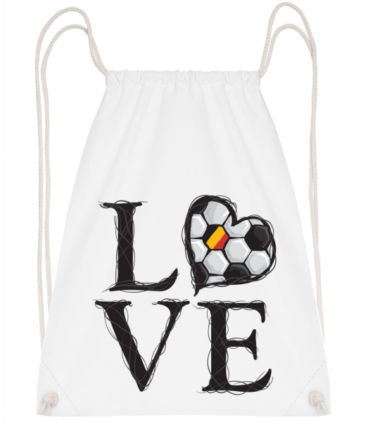 Football Love Belgium - Drawstring Backpack - White - Vorn